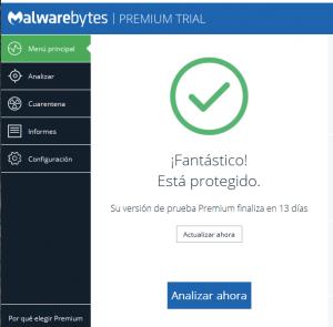 malwarebytes menu